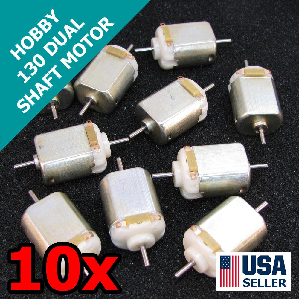10x 130 dual shaft mini dc brushed motor 1 5 6v hobby toy for Etek r brushed dc electric motor