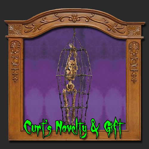 SKELETON IN METAL CAGE Halloween Haunted House Prop