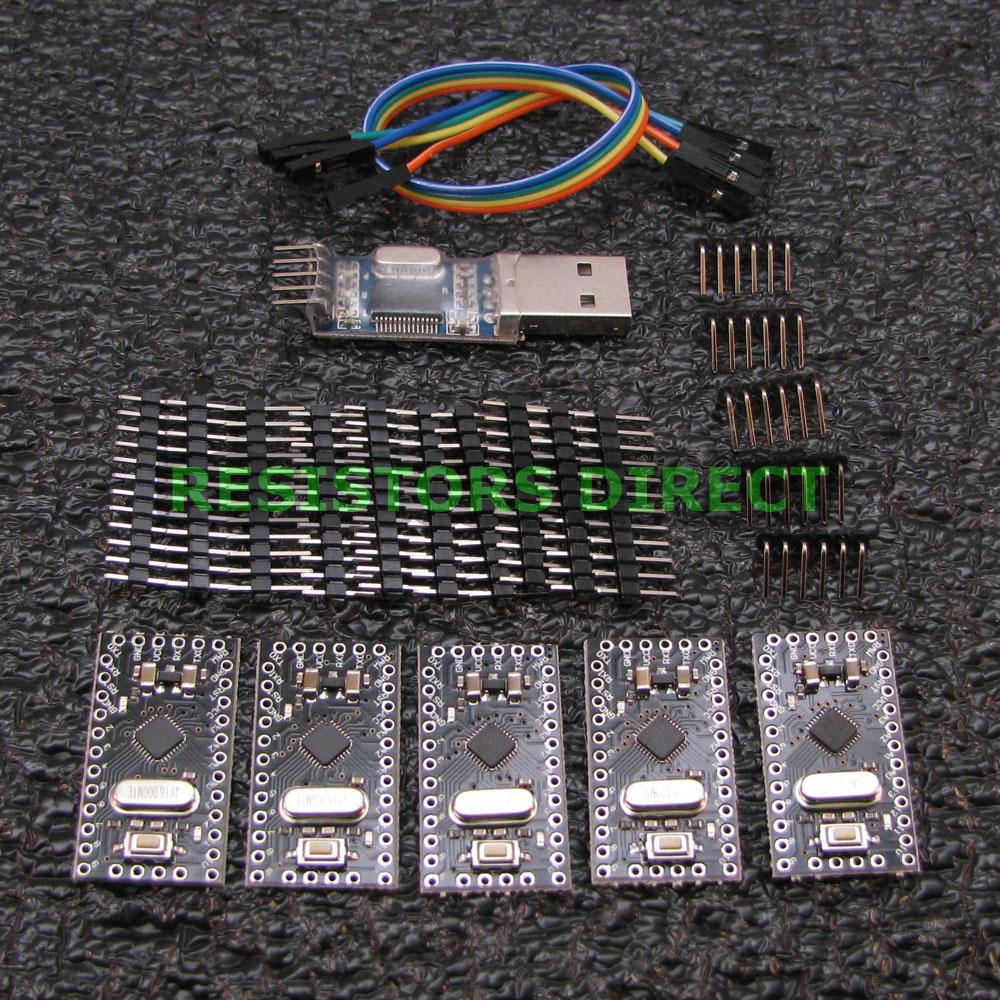 5 pack arduino pro mini compatible atmega328p, usb programmer, &