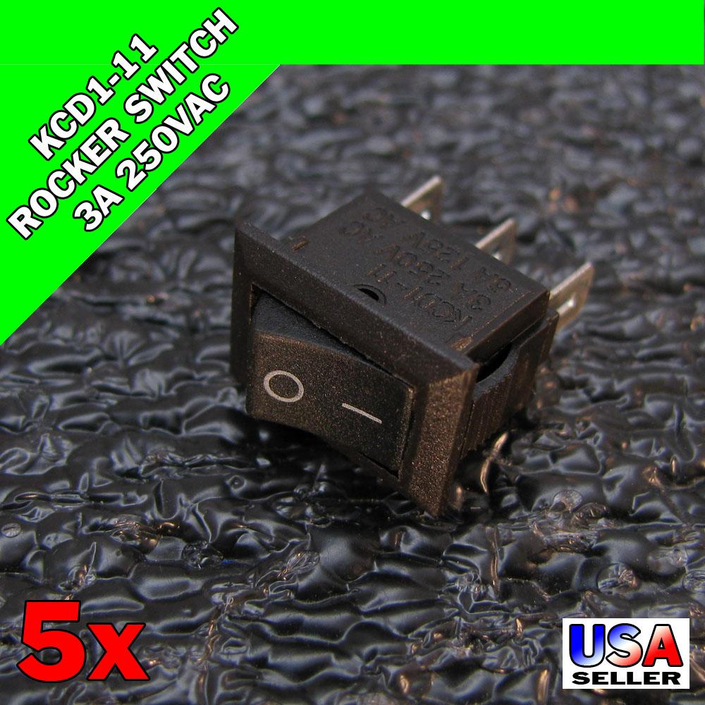 2Pcs Round 2 Pin On-Off Rocker Switch Ac 10A//125V6A//250V Black Spst Ic Ne ih