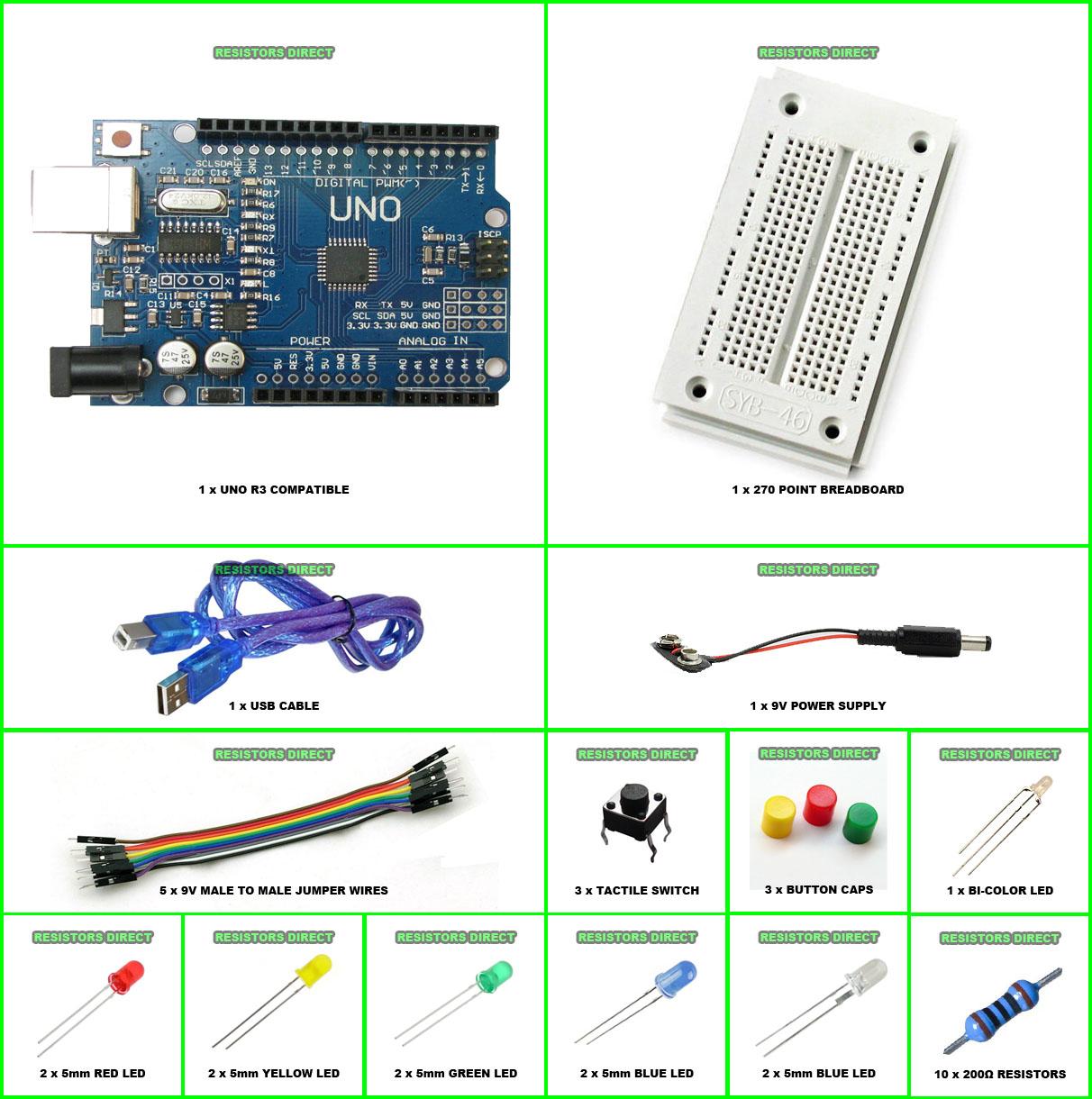 Arduino UNO R3 Starter Kit K Compatible Microcontroller ATMEGA328P ...