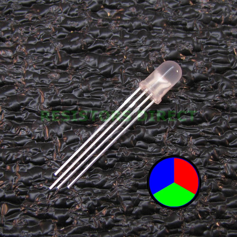 diffused Tri-Color Leds Lamp 5mm 100pcs RGB LED Common Anode//Cathode 4Pin